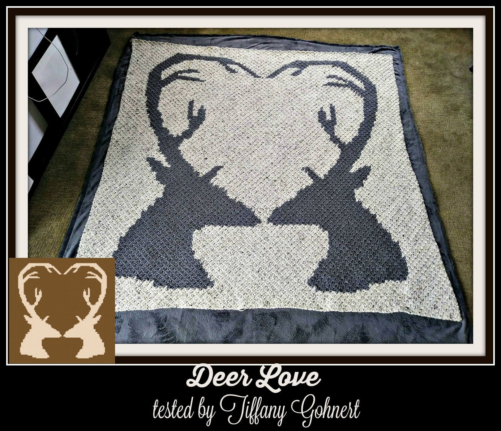 Deer Love, Afghan, Crochet Pattern, C2C Crochet Graph