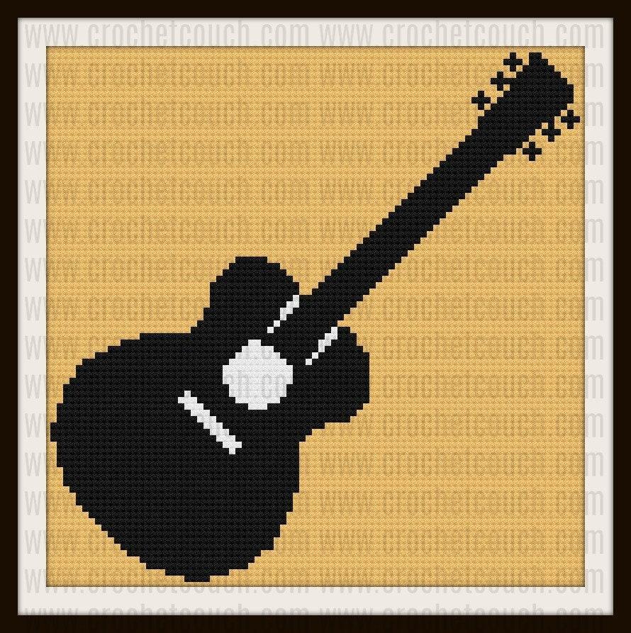Guitar Afghan, C2C Crochet Pattern, Written Row Counts, C2C Graphs