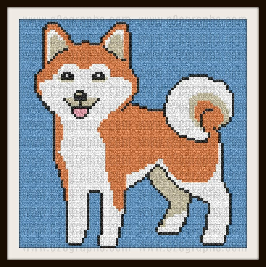Shiba Inu Afghan, C2C Crochet Pattern, Written Row Counts