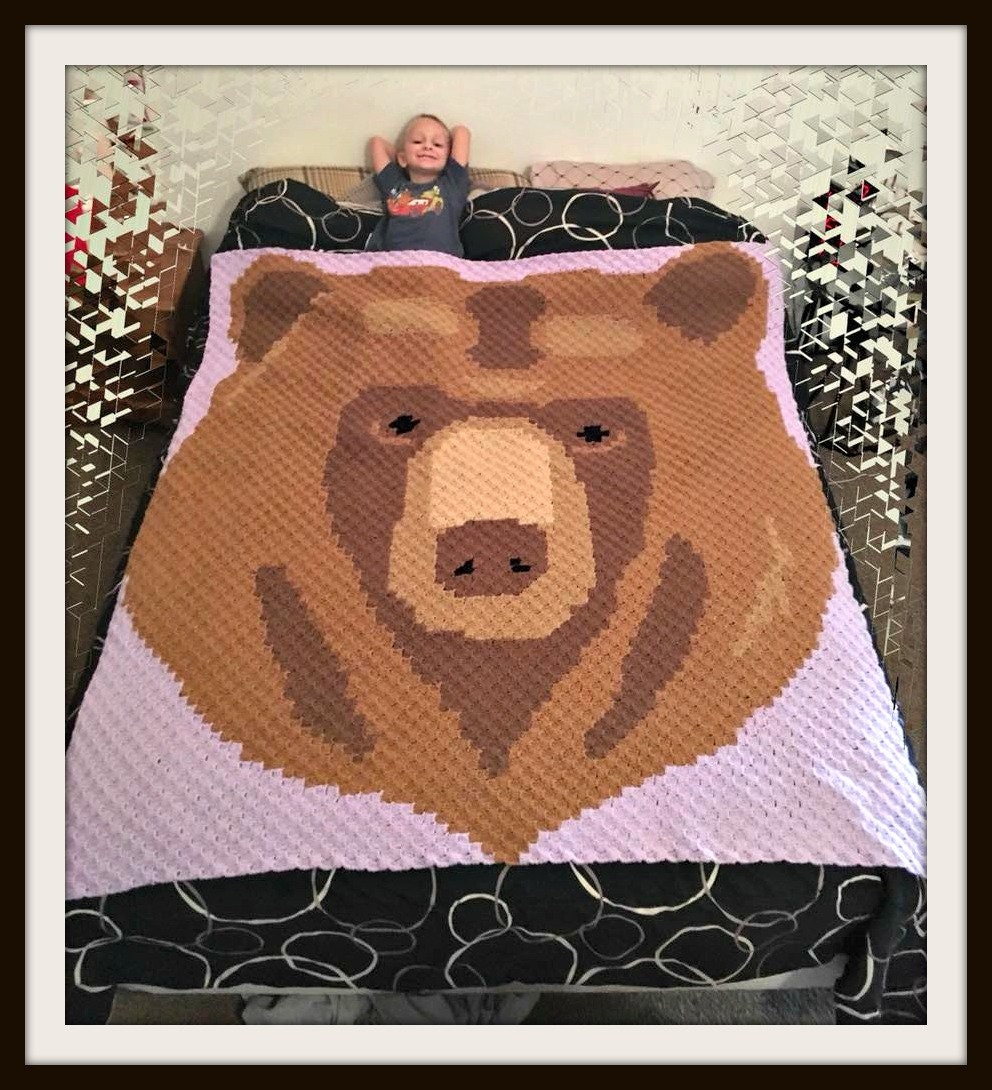 Bear Head Afghan, C2C Crochet Pattern, Written Row Counts