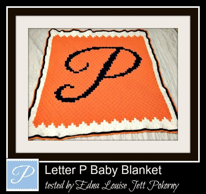 Letter P Baby Blanket, C2C Crochet Pattern, Written Row