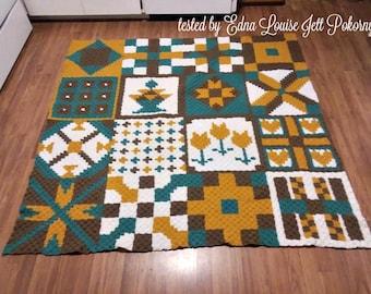 Quilted Ladies Blanket, C2C Crochet Pattern, Written Row Counts, C2C Graphs, Corner to Corner, Crochet Pattern, C2C Graph