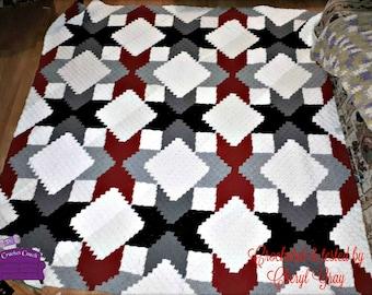 Quilted Stars Large Blanket, C2C Crochet Pattern, Written Row Counts, C2C Graphs, Corner to Corner, Crochet Pattern, C2C Graph