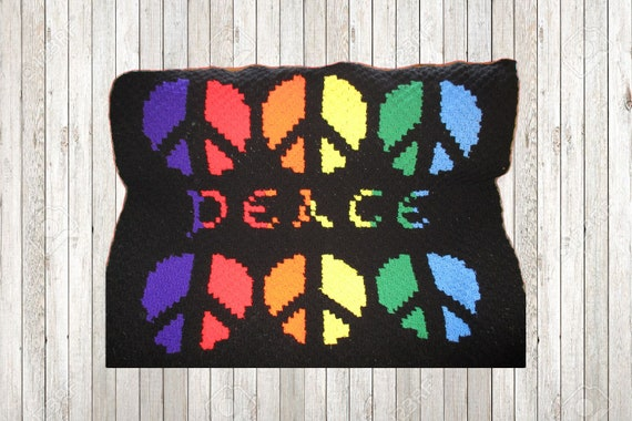 Peace Afghan, C2C Crochet Pattern, Written Row Counts, C2C Graphs, Corner  to Corner Crochet Pattern, C2C Graph