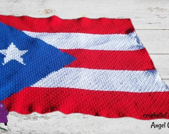 Puerto Rico Flag Afghan, C2C Crochet Pattern, Written Row by Row, Color Counts, Instant Download, C2C Graph, C2C Pattern, Graphgan Pattern