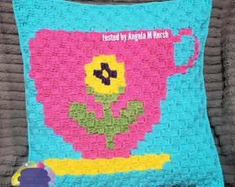 Teacup 1 Pillow, C2C Crochet Pattern, Written Row by Row, Color Counts, Instant Download, C2C Graph, C2C Pattern, Crochet Pillow