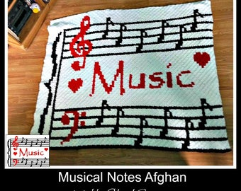Musical Notes Afghan, C2C Crochet Pattern, Written Row Counts, C2C Graphs, Corner to Corner Crochet Pattern, C2C Graph