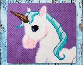 Unicorn Kids Blanket, C2C Crochet Pattern, Written Row Counts, C2C Graphs, Corner to Corner, Crochet Pattern, C2C Graph