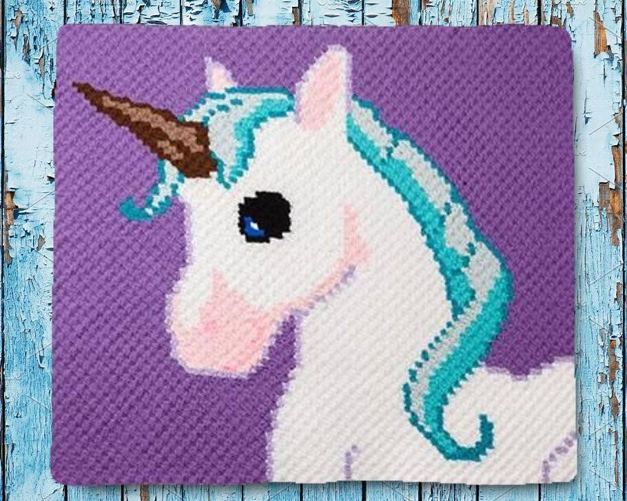 Unicorn Kids Afghan C2c Crochet Pattern Written Row By Row Counts