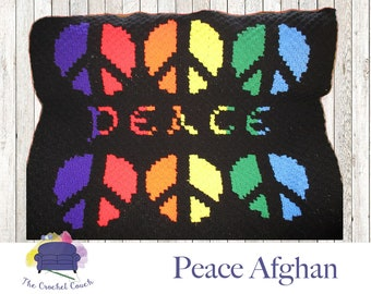 Peace Afghan, C2C Crochet Pattern, Written Row Counts, C2C Graphs, Corner to Corner Crochet Pattern, C2C Graph