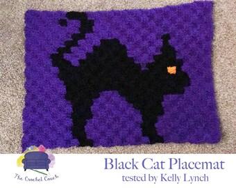 Black Cat Placemat, C2C Crochet Pattern, Written Row by Row, Color Counts, Instant Download, C2C Graph, C2C Pattern