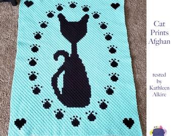Cat Prints Afghan, C2C Crochet Pattern, Written Row by Row, Color Counts, Instant Download, C2C Graph, C2C Pattern, C2C Crochet, Graphgan