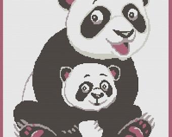 Panda Afghan, sc Crochet Pattern, tss Crochet Pattern, Written Row by Row, Color Counts, Instant Download, sc Graph, tss Graph