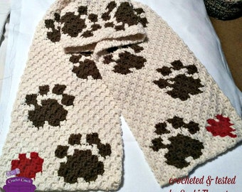 Paws Scarf, C2C Crochet Pattern, Written Row by Row, Color Counts, Instant Download, C2C Graph, C2C Pattern