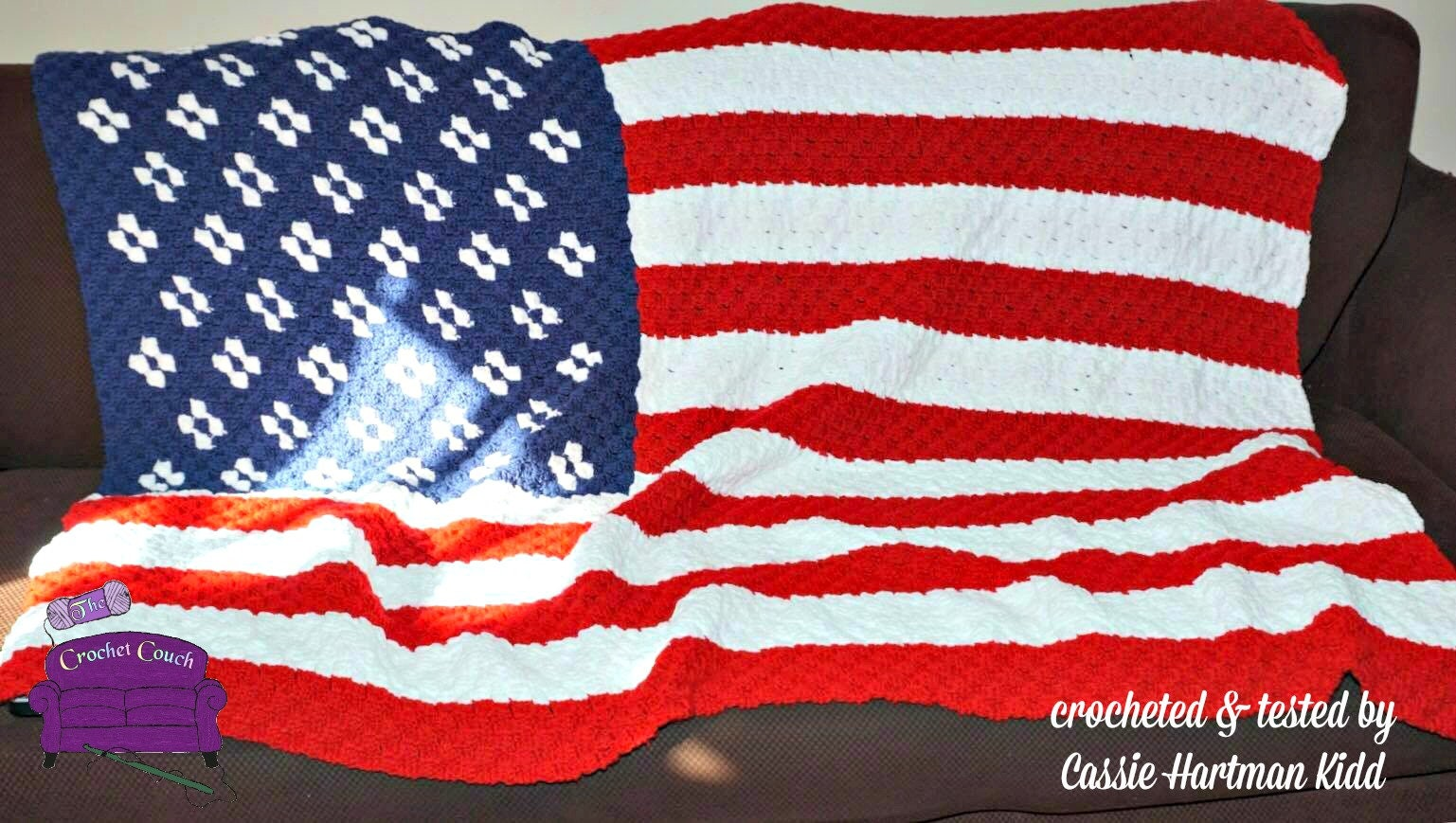 USA Flag Afghan, C2C Crochet Pattern, Written Row Counts, C2C Graphs