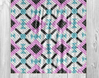 Olivia Quilt Blanket, C2C Crochet Pattern, Written Row Counts, C2C Graphs, Corner to Corner, Crochet Pattern, C2C Graph