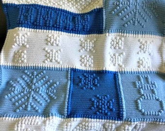 Let It Snow Afghan, Bobble Stitch Crochet Pattern, Written Row by Row, Color Counts, Instant Download, Graphgan Pattern, Graphgan