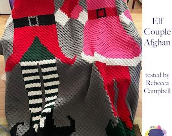 Elf Couple Afghan, C2C Crochet Pattern, Written Row Counts, C2C Graphs, Corner to Corner, Crochet Pattern, C2C Graph