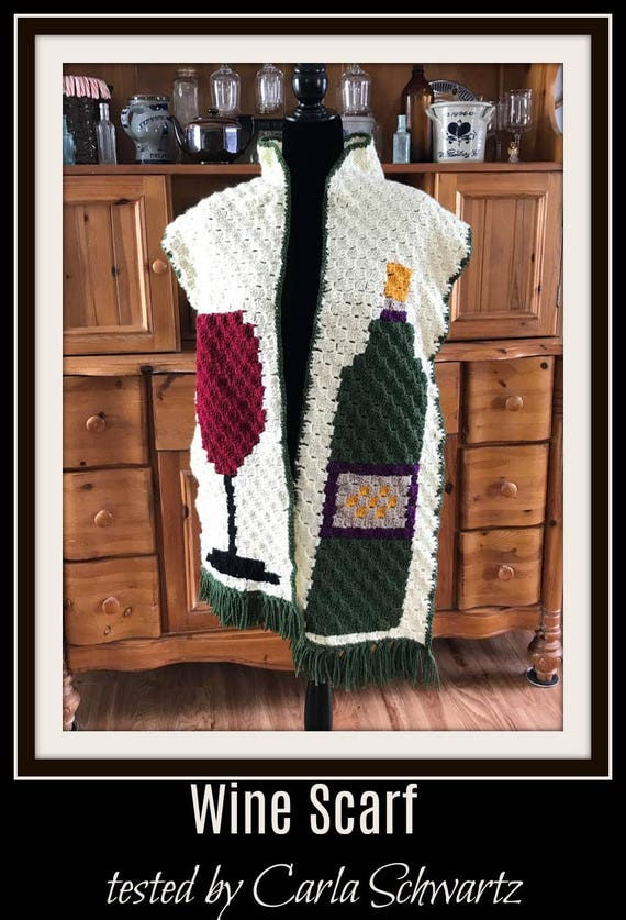 Wine Lovers Scarf, C2C Crochet Pattern, Written Row Counts, C2C Graphs,  Corner to Corner, Crochet Pattern, C2C Graph