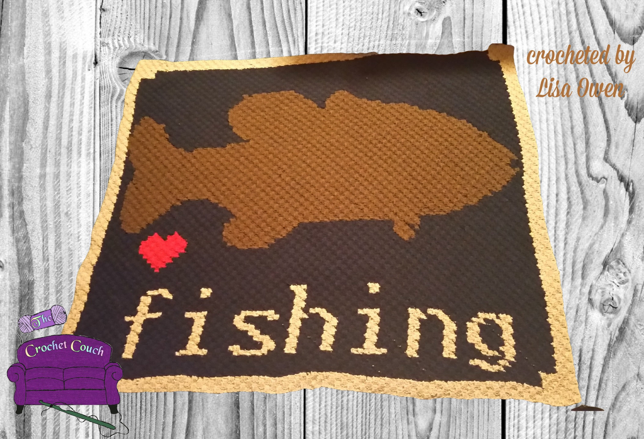 Love Fishing Afghan, C2C Crochet Pattern, Written Row