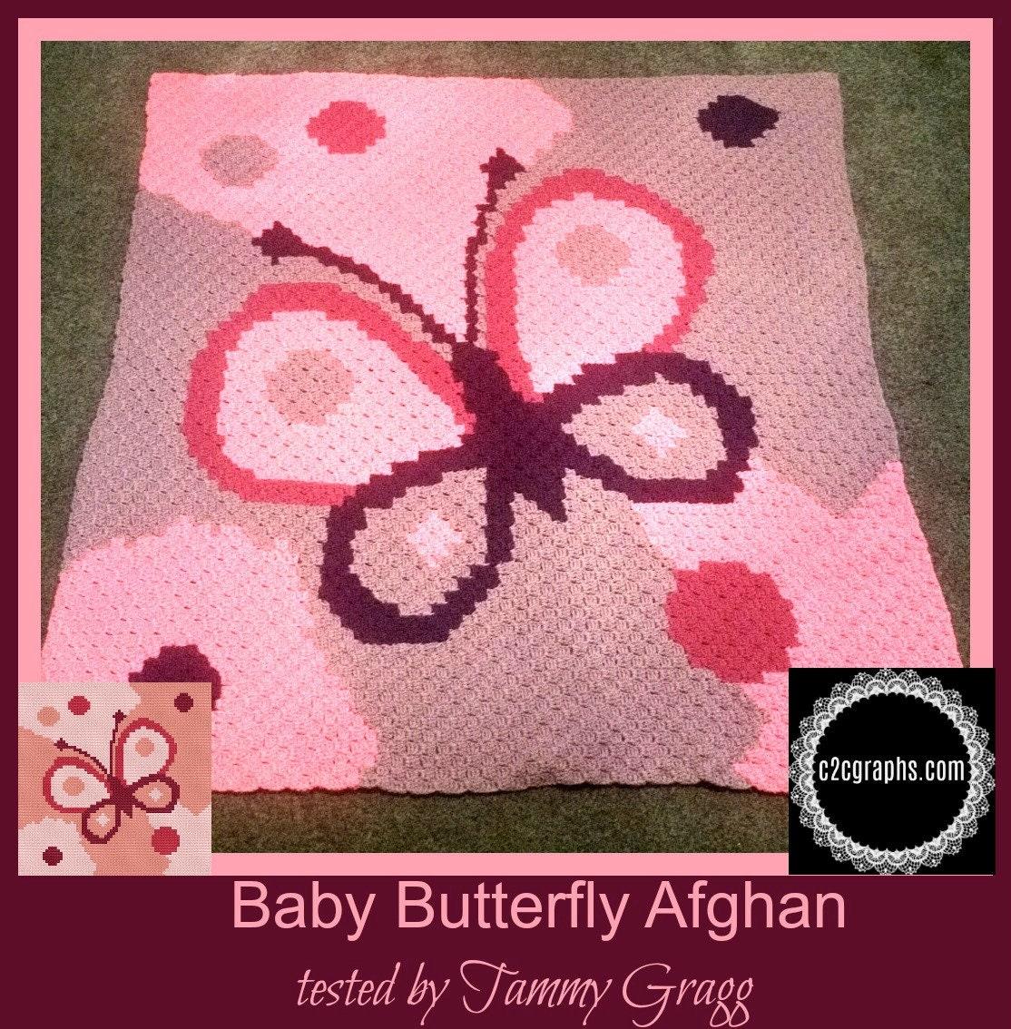 Baby Butterfly Baby Afghan, C2C Crochet Pattern, Written Row Counts