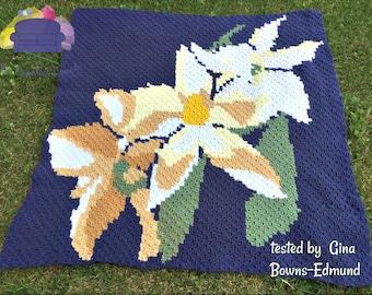 Lily Afghan, C2C Crochet Pattern, Written Row by Row, Color Counts, Instant Download, C2C Graph, C2C Pattern, C2C Crochet, Graphgan
