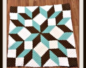 Carpenter Wheel Baby Afghan, C2C Graph, Written Row by Row Word Chart