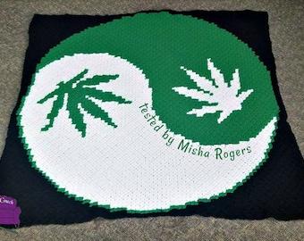 Marijuana Yin Yang Afghan, C2C Crochet Pattern, Written Row Counts, C2C Graphs, Corner to Corner, Crochet Pattern, C2C Graph