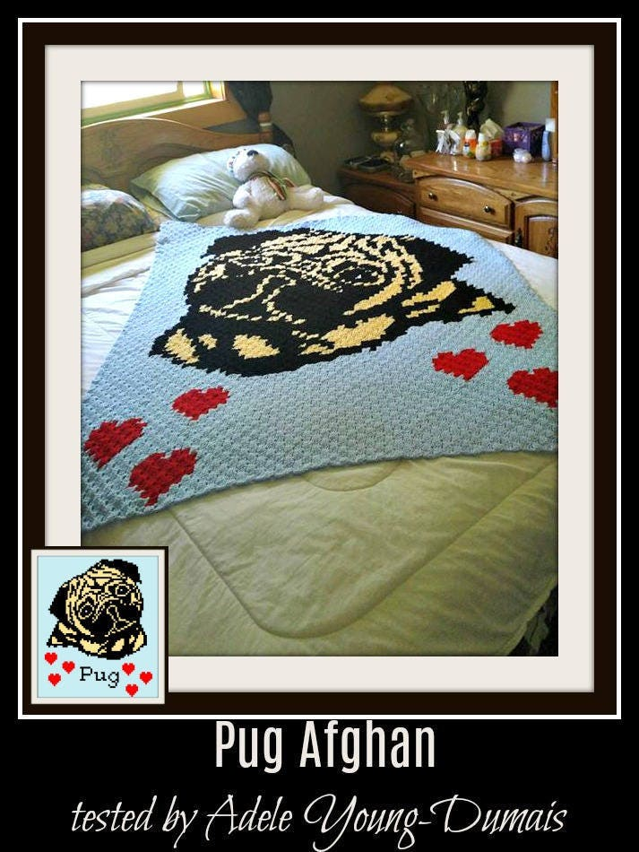Pug Afghan, C2C Crochet Pattern, Written Row Counts, C2C