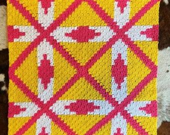 Alexandria Quilt Lapghan, C2C Crochet Pattern, Written Row by Row, Color Counts, Instant Download, C2C Graph, C2C Pattern, C2C Crochet