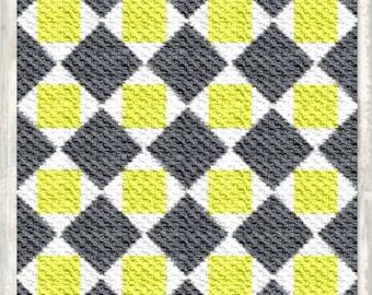 Marji Quilt Blanket, C2C Crochet Pattern, Written Row Counts, C2C Graphs, Corner to Corner, Crochet Pattern, C2C Graph