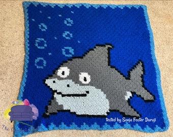 Shark Baby Afghan, C2C Crochet Pattern, Written Row by Row, Color Counts, Instant Download, C2C Graph, C2C Pattern, C2C Crochet, Graphgan