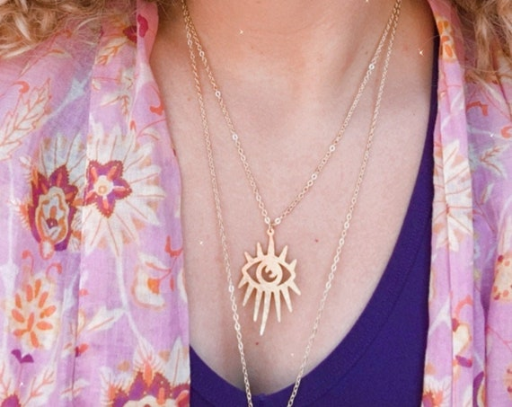 The MYSTIC gold third eye stainless steel layering necklace
