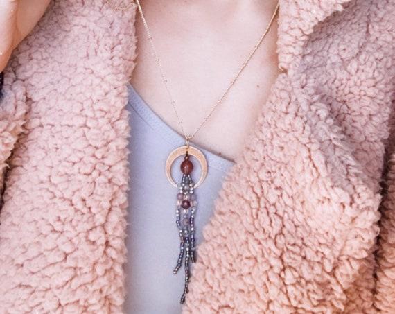 SACRED WOMB beaded crescent moon flow quartz gold golden necklace