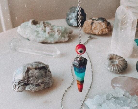 MOOD SWINGS pendulum chakra crystal y necklace evil eye tool