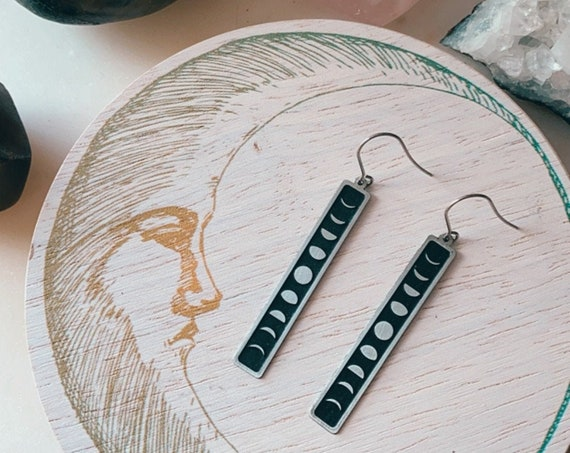 MOON TIME feminine moon phase bar minimal silver dangle earrings