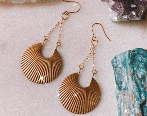 RADIANT gold energy shield light earrings