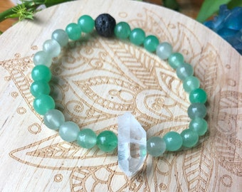 HEAL ENERGY gemstone crystal infused inspired stretch bracelet for healing green aventurine and quartz diffuser jewelry