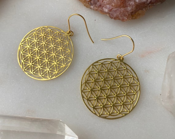 She is BRILLIANT flower of life sacred geometry circle gold golden earrings