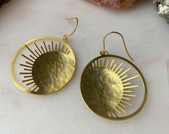 She is SUNSHINE simple elegant hammered sun golden dangle earrings
