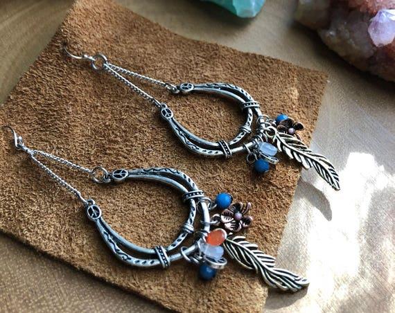 BOHEMIAN RHAPSODY pair of chandelier hippie inspired peace love charm earrings