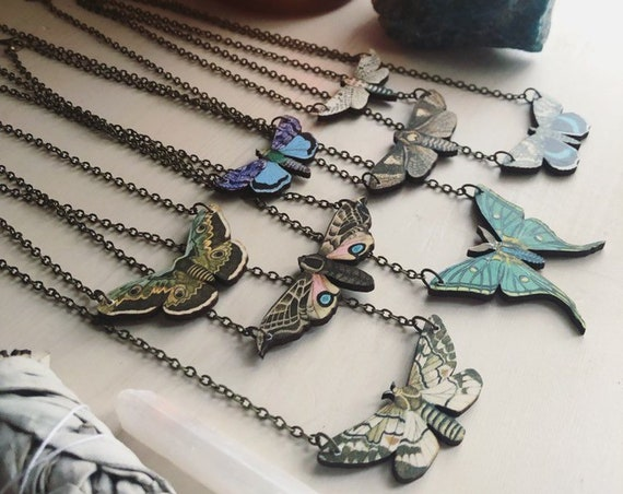 INTO THE LIGHT Wood Moth Necklace