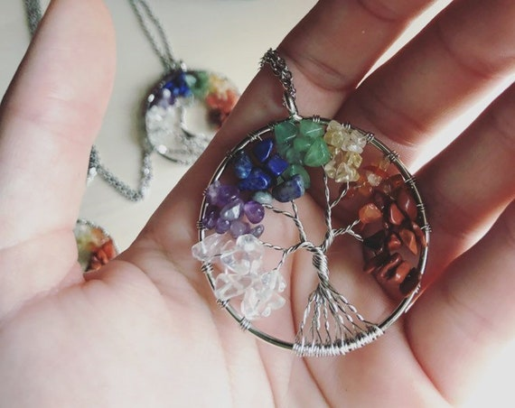 TREE OF LIFE rainbow chakra align stainless steel wire wrapped crystal stone necklace