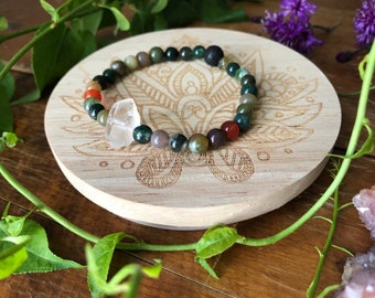EARTH ENERGY gemstone crystal infused inspired stretch bracelet for healing jasper and quartz diffuser fall jewelry