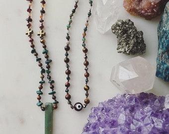 GIA mala crystal energy healing meditation necklace