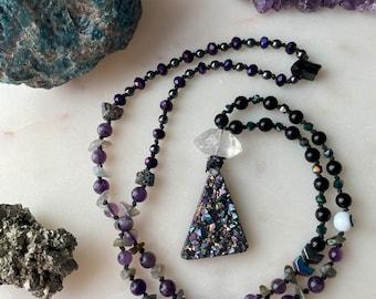 MAGIC mala crystal energy healing dark necklace