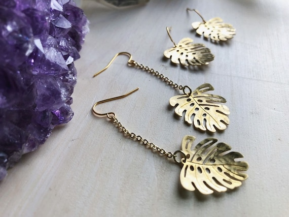 MONSTERA gold stainless steel leaf  earrings