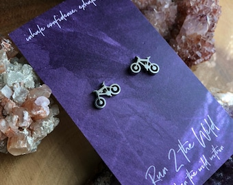 sale SLOW RIDE a pair of silver toned stainless steel bicycle bike earring studs