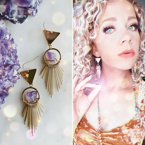The Enlightened Goddess                            raw amethyst crystal gold wrapped geometric chandelier earrings