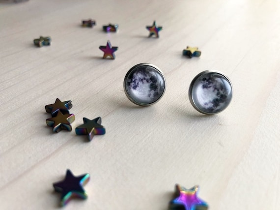 FULL MOON stainless steel glass round stud earrings night sky